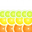 Lemon, lime and orange slices vector background — Stock Vector #17479291