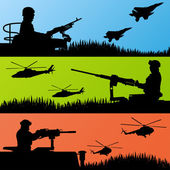 Army soldiers, planes, helicopters and guns background — Stock Vector