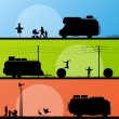 Tourists and campers vehicle detailed silhouettes — Image vectorielle