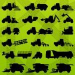 Постер, плакат: Agriculture industrial farming equipment tractors trucks harve
