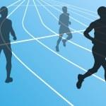 Marathon runners running silhouettes vector — Stock Vector #17482909