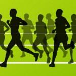 Marathon runners running silhouettes vector — Stock Vector #17483063