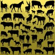 Big farm animals detailed silhouettes illustration vector — Stock Vector
