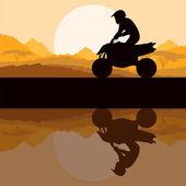 All terrain vehicle quad motorbike rider in wild nature — Stock Vector