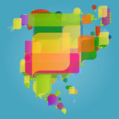 North and central America continent world map made of colorful s — Stock Vector