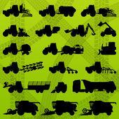 Agriculture industrial farming equipment tractors, trucks, harve — Stock Vector