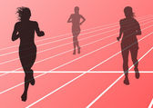 Marathon runners running silhouettes vector — Stock Vector