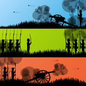 Vintage old civil war battle field warfare soldier troops and ar — Stock Vector