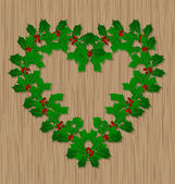 Holly berry Christmas vector symbol on wooden door — Stock Vector