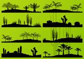 Desert cactus plant and exotic palm trees detailed landscape bac — Stock Vector