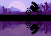 Motorbike riders motorcycle silhouette — Stock Vector