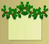 Christmas holly berry vintage holiday decoration vector — Stock Vector