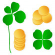 Four leaf clover shamrock luck vector and gold coins background — Stock Vector