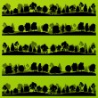 Forest trees silhouettes landscape illustration set - Stok Vektör