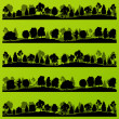Forest trees silhouettes landscape illustration set - Stok Vektr