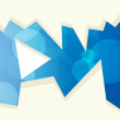 Постер, плакат: Abstract blue background with rounds and sharp fragments