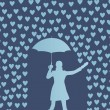 Royalty-Free Stock Vector Image: Valentines day card with raining hearts and woman with umbrella