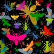 Royalty-Free Stock Vector Image: Colorful ants insects silhouettes background vector