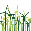 Green wind electricity generators grass ecology concept illustra - Stock Vector