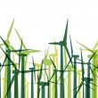 Green wind electricity generators grass ecology concept illustra - Векторная иллюстрация