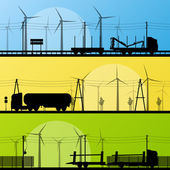 Wind electricity generators and windmills in countryside highway — Stock Vector