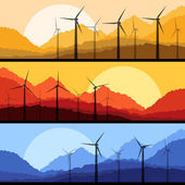 Wind electricity generators and windmills in mountain vector — Stock Vector