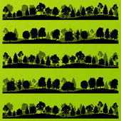 Forest trees silhouettes landscape illustration set — Stockvector
