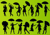 Girl with umbrella and raincoat in detailed editable silhouette — Stock Vector