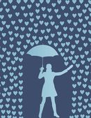 Valentines day card with raining hearts and woman with umbrella — Stock Vector