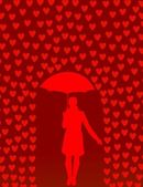 Carte de saint valentin avec pluie de coeurs et femme avec parapluie — Vecteur
