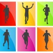 Man marathon runners silhouettes set — Stock Vector #20667479