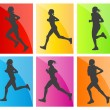 Royalty-Free Stock Vector Image: Man marathon runners silhouettes set