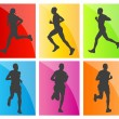Man marathon runners silhouettes set - Stock Vector