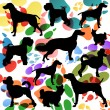 Dogs and dog footprints silhouettes colorful illustration collec — Stock Vector