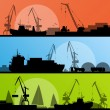 Stock Vector: Industrial harbor, ships, transportation and crane seashore vect