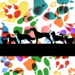 Stock Vector: Dogs and dog footprints silhouettes colorful illustration collec