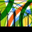 Colorful wind electricity generators abstract lines ecology silh - Stock Vector