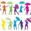 Girl with umbrella abstract vector - Stock Vector
