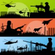 Army soldiers, planes, helicopters, guns and transportation in u — Stock Vector #20667741