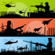 Army soldiers, planes, helicopters, guns and transportation in u - Stock Vector
