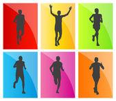 Set sagome di uomo maratona corridori — Vettoriale Stock