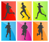 Man marathon runners silhouettes set — Stock Vector