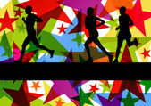 Marathon sport runners in colorful abstract star line background — Stock Vector