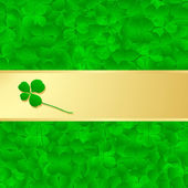 Irish four leaf lucky clovers happy St. Patrick's day background — Stock Vector