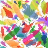 Ilustración de fondo de plumas coloridas — Vector de stock