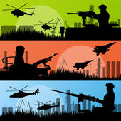 Army soldiers, planes, helicopters, guns and transportation in u — Stock Vector
