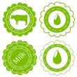 Farm animals market ecology organic milk label vector background — Stock Vector