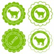 Organic sheep lamb meat food labels illustration — Stock Vector