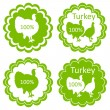 Organic farm and forest turkey meat food labels illustration — Stock Vector