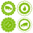 Organic farm dairy goats cheese, milk and meat food labels illus — Stock Vector